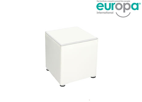 White Faux Leather Hire Cube