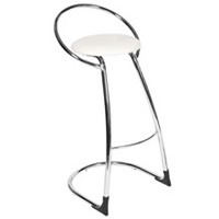 White Bar Stool & Chrome Frame