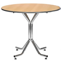 Artemis 3' chrome legged round table hire