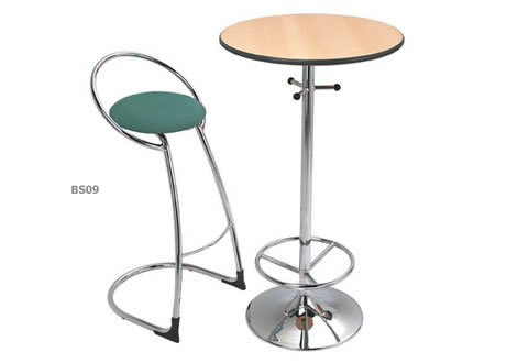 Omega chrome base poseur bar table hire