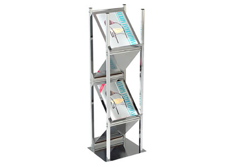 Chrome 4 Sided Literature Rack