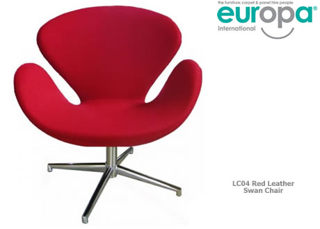 Red Leather Swan Chair