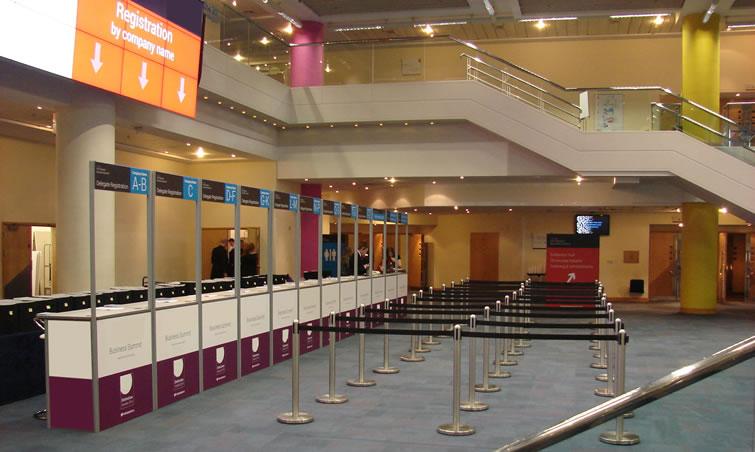 Fascia Board Exhibition Booth : Registration desk counter hire